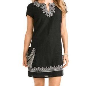 Vineyard Vines Black Embroidered Shift Dress